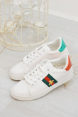 White Striped Bee Embellished Trainers