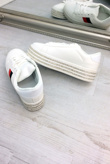 White Striped Diamante Embellished Trainers