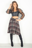 Wine Checked Tartan Skirt