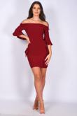 Wine Frill Drape Sleeve Off Shoulder Bodycon Dress