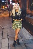 Yellow Checked Mini Skirt