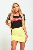 Yellow Striped Panel Bodycon Mini Skirt