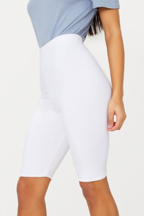 White Basic High Waisted Cycle Shorts
