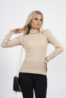 Beige ribbed turtle neck
