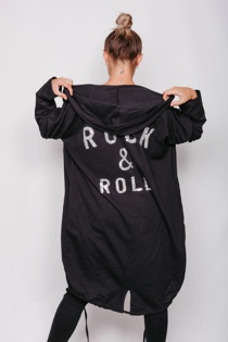 Black Sequin Rock And Roll Hooded Cardigan