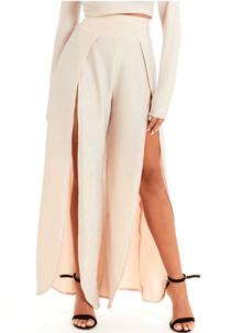 Rose Gold Glitter High Waist Split Leg Trousers