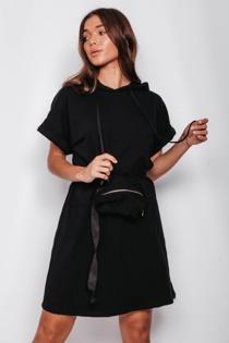 Black Bumbag Detail Hooded Sweat Dress