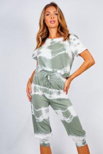 Khaki Tie Dye Crop Top And Pants Set