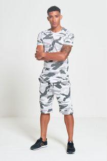 White Full Camo Matching Crew Neck T-Shirt And Shorts Set