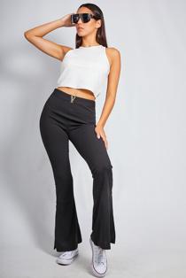 Black Split Hem Flare Leg Trouser