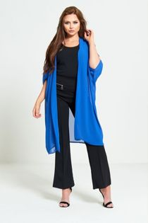 Blue Half Sleeve Chiffon Cardigan