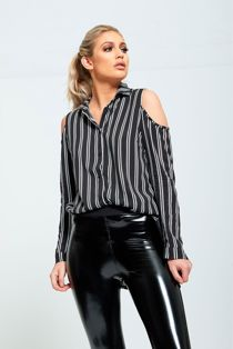 Black Cold Shoulder Striped Shirt