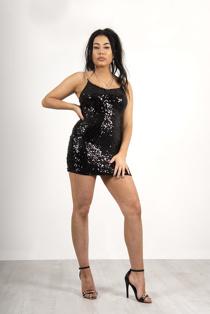 Black Sequin chain strap mini dress