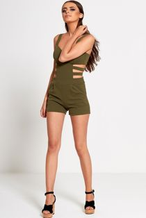 Green Cut Out Side Fitted Playsuit