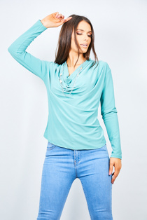 Sage Cowl Neck Long Sleeve Blouse