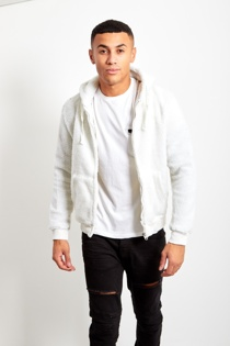 Mens White Borg Hood Jacket