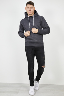 Mens Charcoal Contrast Drawstring Pull Over Hoodie