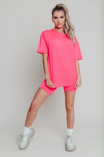 Hayley Hughes Modelled Neon Pink Oversized T-shirt And Cycling Shorts Lounge Set