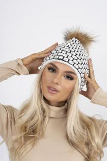White diamante faux fur beanie hat