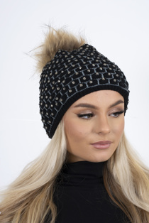 Black diamante faux fur beanie hat