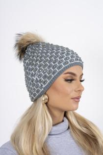 Grey diamante faux fur beanie hat