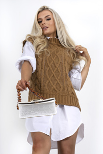 Brown cable knitted vest
