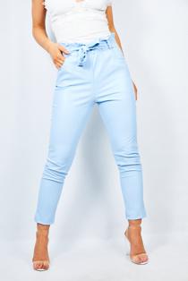 Aqua Pu Paperbag Waist Tapered Trouser