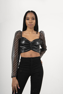 Black Sheer Polka Dot Mesh Sleeve Leather PU Crop
