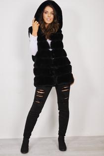 Black Hooded Faux Fur Longline Gilet