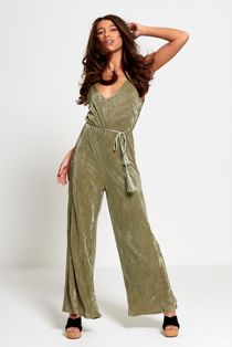 Green Cami Style Ribbed Wide Leg Jumpsuit