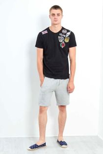 Black Embroidery Patched T-Shirt