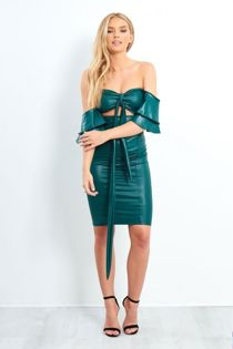 Teal Pu Leather Off The Shoulder Mini Dress