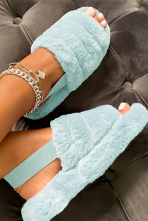Baby blue faux fur fluffy stripe slippers