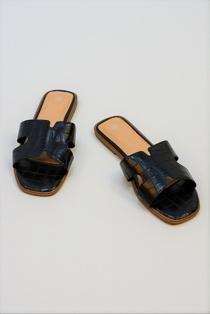 Black Faux Croc Printed Square Toe Sliders
