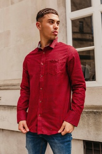 Mens Red Long Sleeve Gingham Shirt