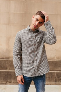 Mens Black Long Sleeve Gingham Shirt
