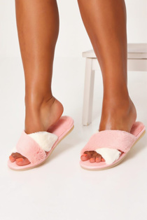 Pink Fluffy Cross Strap Slippers