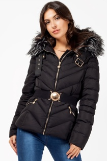 Black Padded Faux Fur Hooded Belted Jacket