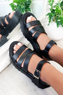 Black Buckle Chunky Sandals