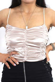 Champaign rushed cropped cami