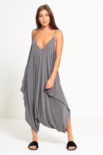Charcoal Draped Romper Harem Jumpsuit