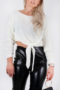 Cream Knitted Tie Front Cropped Jumper