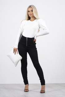 White ribbed puffed sleeve knit top