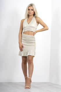 Nude metallic shirred halter neck top and skirt co-ord