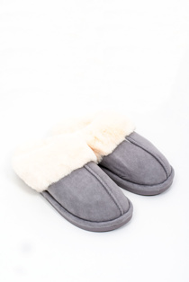 Mens grey faux suede slippers