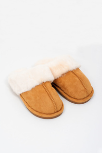 Mens camel faux suede slippers