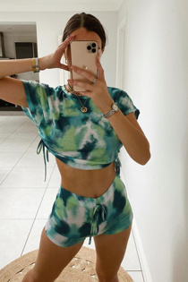 Emerald Green Tie Dye Ruched Crop Top And Shorts Set