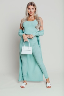 Hayley Hughes Modelled Mint Ribbed Three Piece Co-ord
