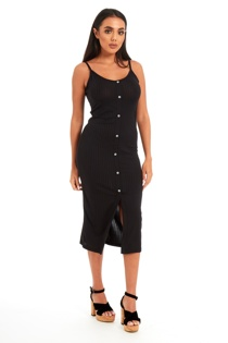 Black Ribbed Button Front Tea Length Dress