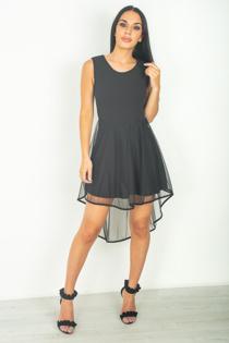 Black Mesh Overlay Skater Dress